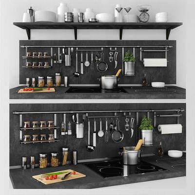 厨房, 厨具, 餐具, 电磁炉, 食物, 现代厨房厨具餐具电磁炉食物组合