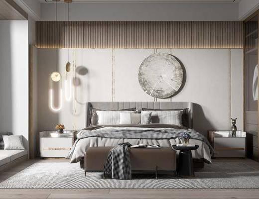 双人床, 墙饰, 吊灯, 衣柜, 床头柜, 地毯, 床尾踏