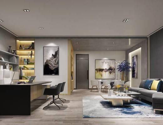 董事长办公室, 经理办公室, 办公桌椅, 沙发茶几组合, 现代, 办公室, 书桌椅, 沙发组合