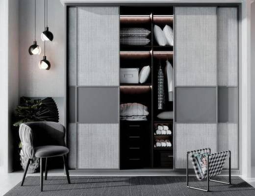 现代衣柜, 现代吊灯, 衣服, 现代单椅