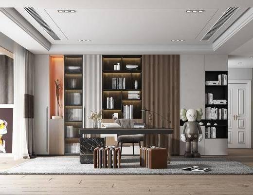轻奢书房, 摆件, 装饰画, 书柜, 书桌
