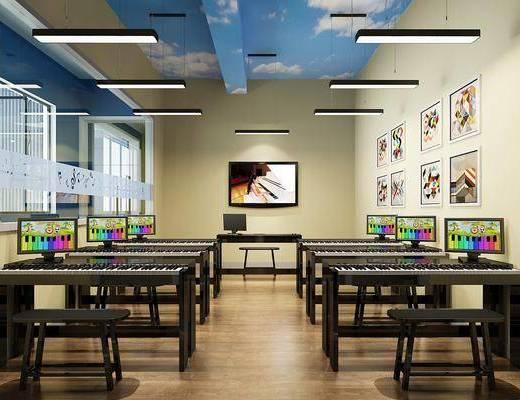 培訓中心, 鋼琴房, 吊燈組合, 現代