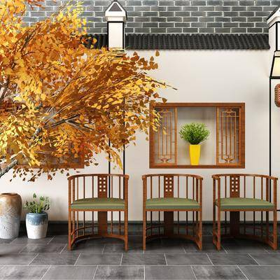单椅, 休闲椅, 树, 凳子, 花瓶, 新中式