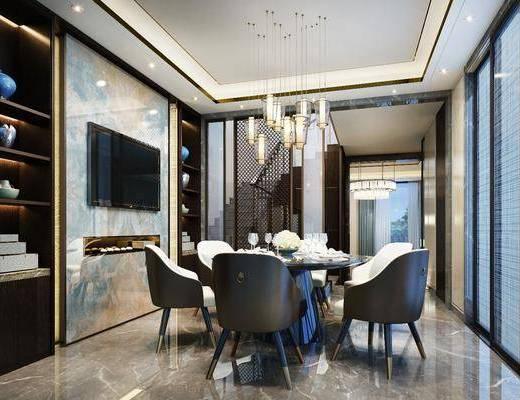 現代, 餐廳, 桌椅組合, 新中式