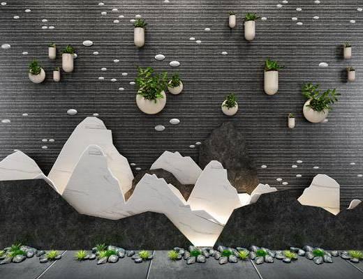 景观背景, 景观园林, 文化墙, 新中式