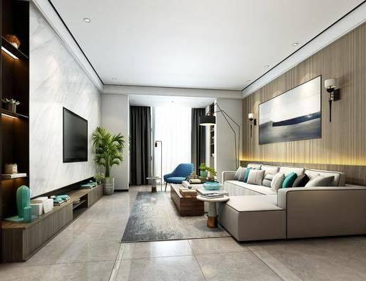 客厅, 餐厅, 多人沙发, 茶几, 转角沙发, 单人椅, 落地灯, 壁灯, 盆栽, 绿植植物, 餐桌, 餐椅, 装饰品, 陈设品, 现代