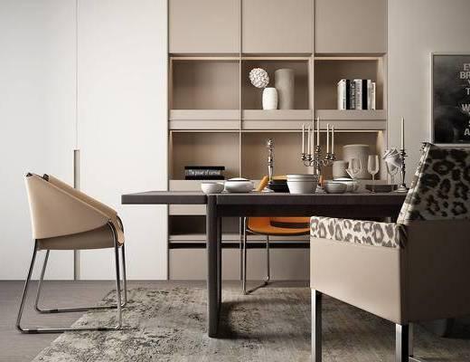 现代, 餐桌, 桌椅