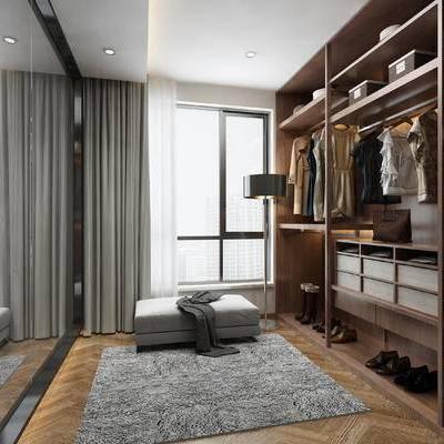 衣帽间, 衣柜, 服装, 服饰, 衣服, 落地灯