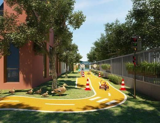 室外园林, 环形车道, 交通, 游乐场, 操场, 旗杆, 现代