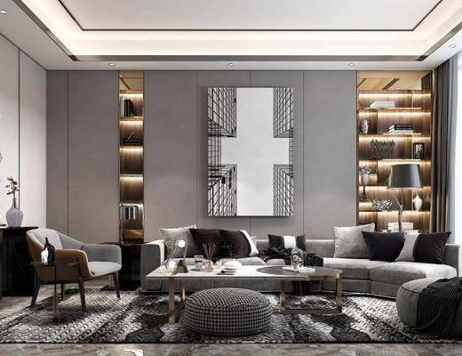沙发组合, 茶几, 装饰画, 边柜, 墙饰, 摆件组合