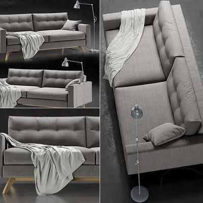 双人沙发, 落地灯, 沙发, 布艺, 现代