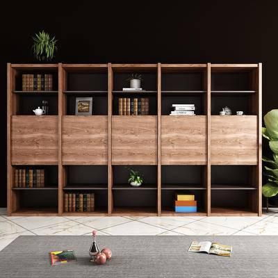 现代, 书柜, 书籍, 摆件, 绿植, 地毯, 装饰