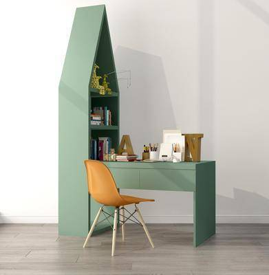 书桌椅组合, 摆件组合, 书籍摆件, 文具书本组合, 北欧