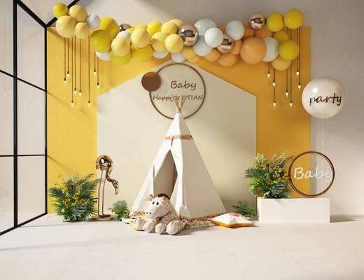 摆件组合, 背景墙, 气球, 植物