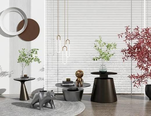 茶几, 边几, 吊灯, 植物, 墙饰