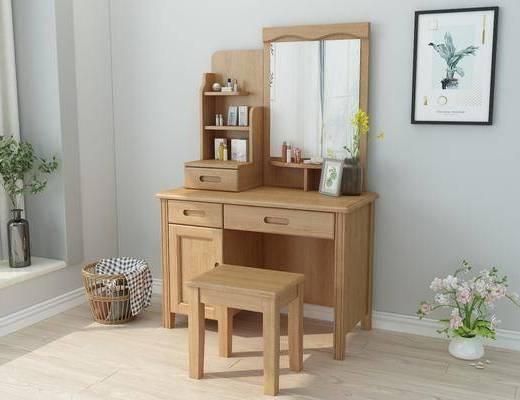 妆台, 凳子, 梳妆台, 装饰画, 植物画, 挂画, 北欧