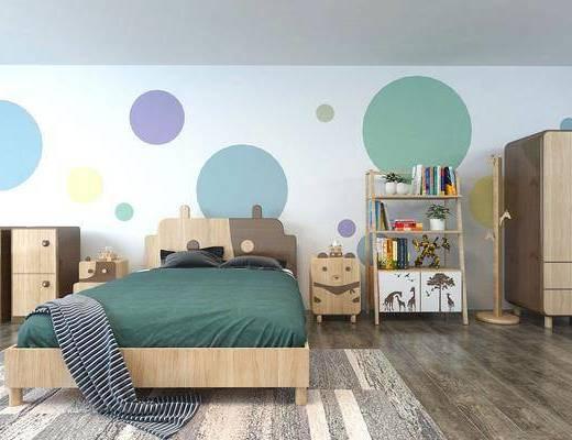 儿童房, 床具组合, 边柜, ?#39184;?#26588;, 装饰架, 摆件, 装饰品, 陈设品, 衣柜, 现代