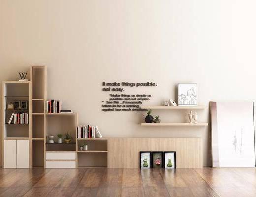 装饰架, 装饰画, 挂画, 摆件, 书籍, 盆栽, 现代