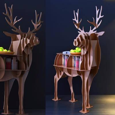装饰柜, 边柜, 书籍, 小鹿, 现代