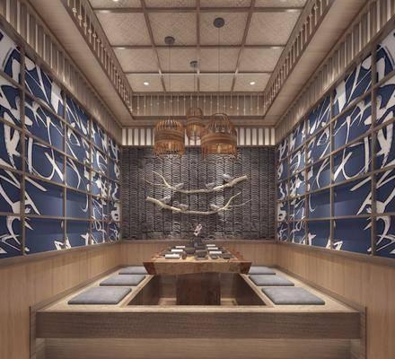 餐厅包间, 茶桌, 墙饰, 吊灯, 餐具, 日式