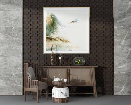 单椅, 边柜, 陈设品, 装饰画, 新中式, 茶几