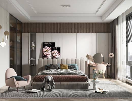 现代卧室, 女孩房, 装饰画, 梳妆台, 双人床