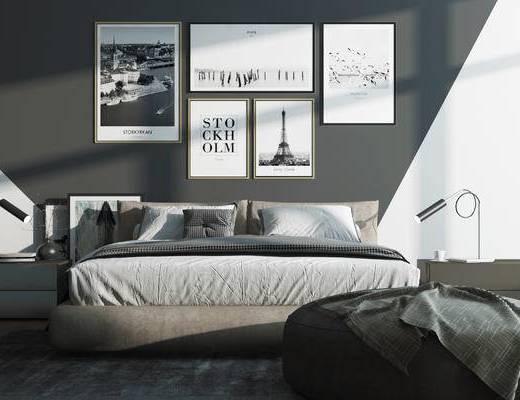 床, 床头柜组合, 装饰画组合, 现代, 北欧, 装饰画, 挂画, 床头柜, 台灯, 花瓶
