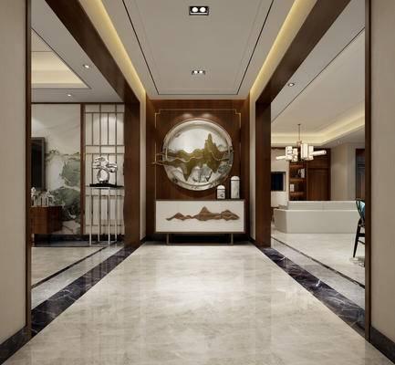 中式, 玄关, 过道, 装饰柜, 装饰墙
