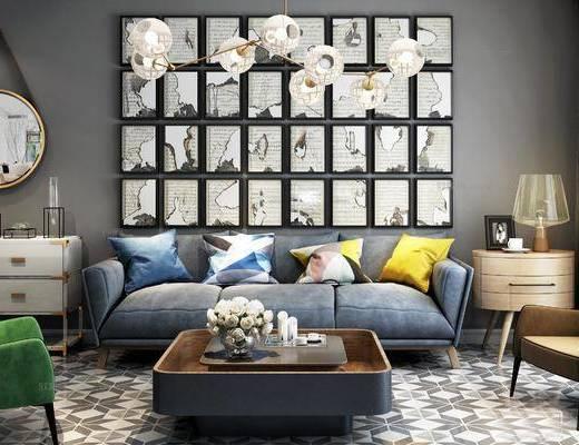北欧, 现代, 沙发组合, 沙发茶几组合, 边柜, 多人沙发, 单人沙发, 休闲沙发, 边几, 茶几, 台灯, 吊灯, 客厅