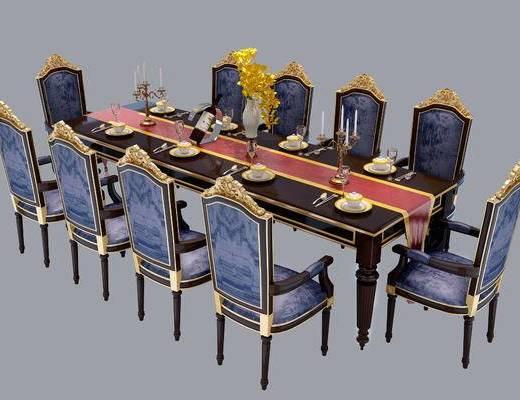 美式餐桌椅, 新古典, 餐桌椅, 古典, 新中式, 中式, 餐具, 椅子, 单椅, 餐桌