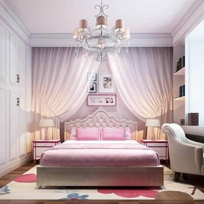 简欧儿童房, 简欧, 简欧卧室, 床, 欧式吊灯