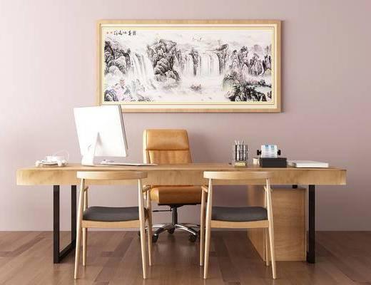 办公桌, 装饰画, 摆件组合