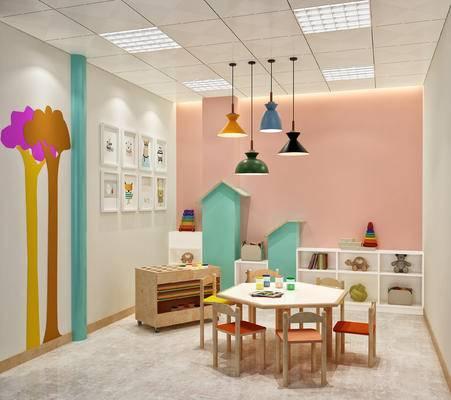 儿童, 教室, 桌椅, 吊灯, 玩具, 幼教