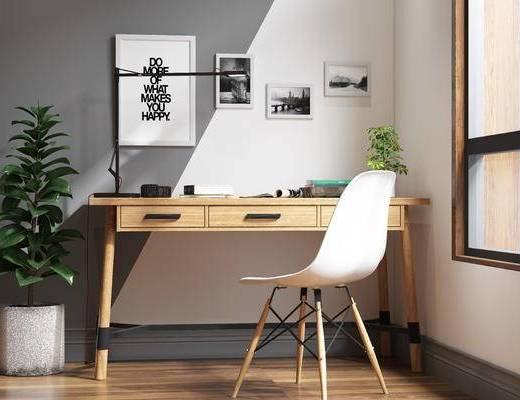 现代电脑桌, 书桌, 电脑桌, 书桌椅, 现代, 北欧, 盆栽, 装饰画, 挂画, 单椅, 椅子, 休闲椅