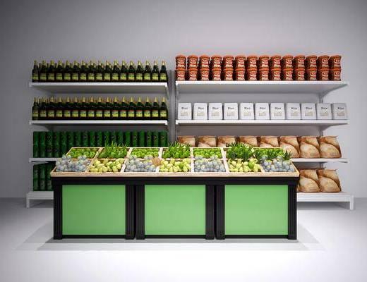 现代超市展架, 现代, 货架, 水果, 酒