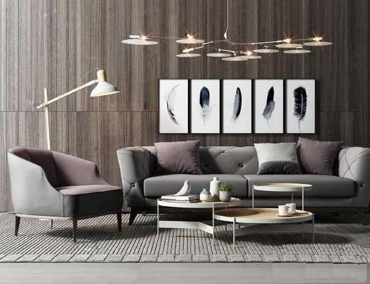 现代沙发茶几组合, 简约吊灯, 装饰画, 落地灯, 深灰色沙发组合, 现代