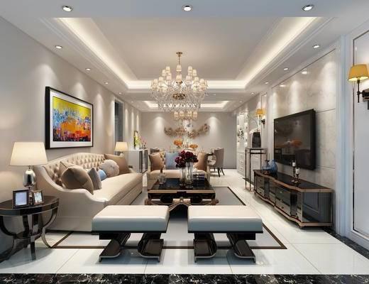 欧式风格, 客餐厅, 客厅, 餐厅, 电视柜, 沙发, 吊灯