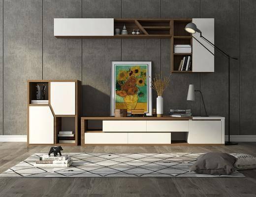 电视柜组合, 边柜, 置物架, 装饰画, 摆件, 装饰品, 陈设品, 落地灯, 抱枕, 现代
