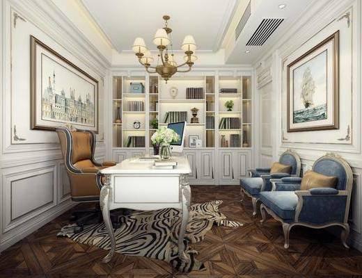 书房, 书柜, 装饰柜, 吊灯, 装饰画, 挂画, 书桌, 单人沙发, 书籍, 摆件, 装饰品, 陈设品, 欧式