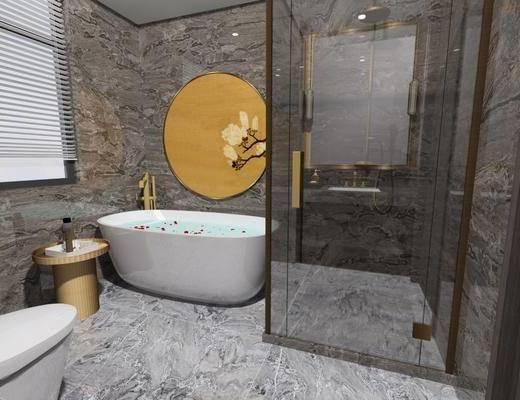 浴缸, 马桶, 洗手盆, 卫生间, 浴室
