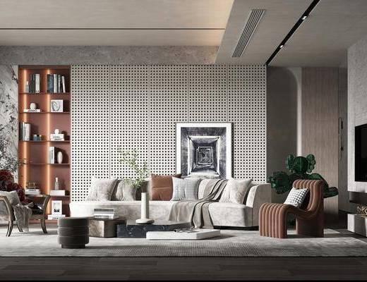 现代客厅, 沙发, 茶几, 装饰柜