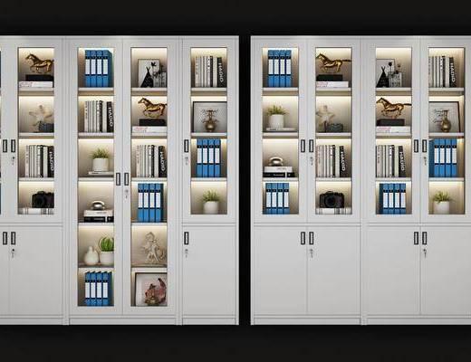 文件柜组合, 装饰柜, 书柜, 摆件, 装饰品, 陈设品, 现代