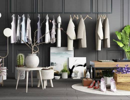 衣架, 服饰, 盆栽, 落地灯, 茶几, 鞋子, 摆件, 装饰品, 陈设品, 现代
