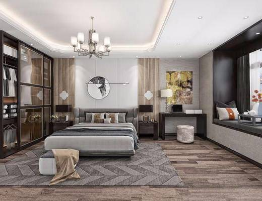 新中式, 臥室, 雙人床