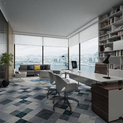 办公室, 沙发组合, 办公桌椅, 办公桌, 办公椅, 椅子, 装饰柜, 置物柜, 书柜