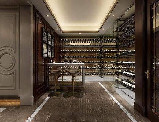 酒窖, 吧台, 单人椅, 酒架, 酒瓶, 装饰架, 组合画, 现代轻奢