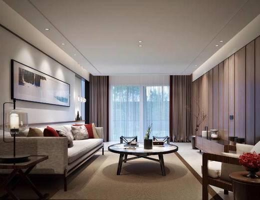 客厅, 新中式客厅, 沙发组合, 茶几, 摆件组合, 单椅, 电视柜, 新中式
