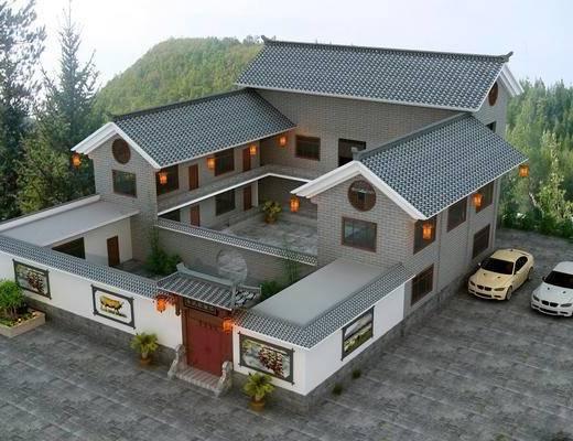 中式, 四合院, 古建, 外观, 住宅