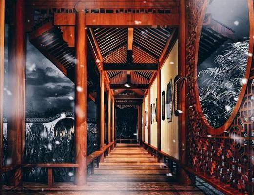 中式长廊, 长廊, 亭子