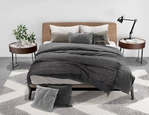 床具组合, 双人床, 床头柜, 台灯, 盆栽, 绿植植物, 现代